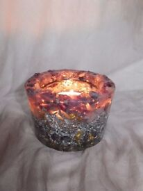 Orgone Copper Metal Amethyst Rose Quartz Green Dyed Quartz Tealight Holder