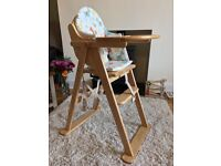 Folding wooden highchair - excellent condition