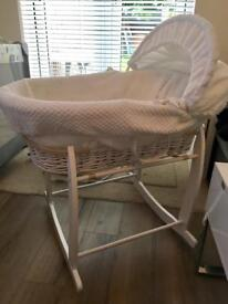 Clair de Lune white wicker Moses basket and stand