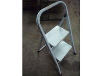 2 x Steps Fold Away Step Ladder Metal Storage Stool Caravan Motorhome diy home improvement painting
