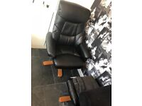 Black leather massage chair including foot stool perfect condition available now