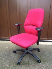 Swivel PC computer chair with leather arms, very steady and comfortable - RRP 150