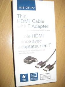 Insignia Thin HDMI Cable with T-Adapter (Mini and Micro HDMI) to Connect TV to Camera / Camcorder / Tablet / Laptop PC