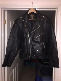 2 unworn leather jackets.