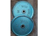 2x 20kg standard weight plates