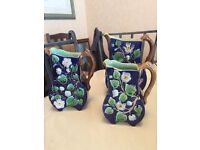 SET OF 3 ANTIQUE MAJOLICA PITCHERS. . PRE 1880. VERY RARE. 2 CHIPS. GOOD COND. WITH PROVENANCE