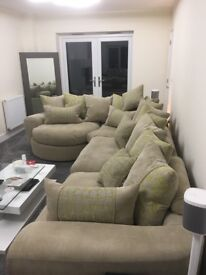 6 Seater Fabric Sofa with matching 2 Seater Sofa