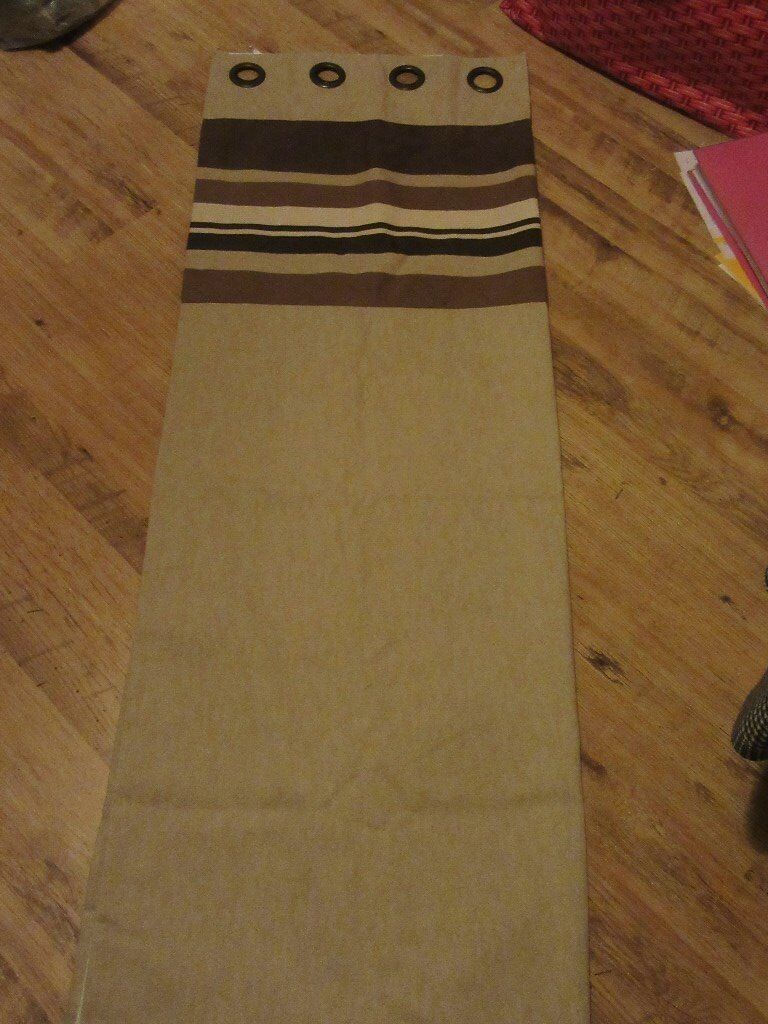 Coffee colour striped/banded canvas lined eyelet curtains