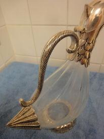 Silea Glass & Silverplate Duck Decanter
