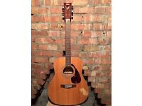 Yamaha acoustic guitar, case, books and accessories