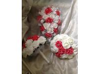Coral bridal flowers set