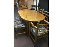 Lovely vintage solid pine Dinning suite with six chairs