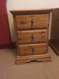 Three Drawer Wooden Bedside Table