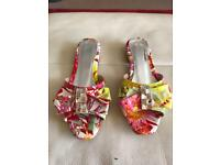 Brand new ladies multi coloured flat mule sandals size 4