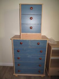 chest of drawers and bedside drawers