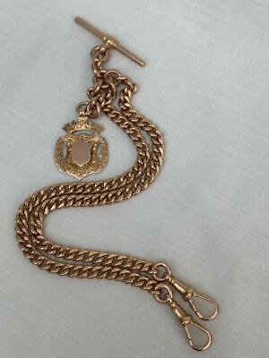Superb Antique Solid 9ct Gold Double Albert Watch Chain & Fob By W.H.Wilmot 1912