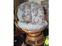 swivel wicker large cushioned patio chair
