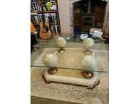 Art Deco style glass topped coffee table
