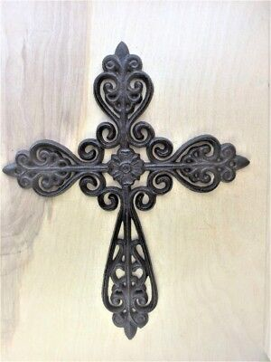 Wall Cross Decor (Ornate hanging Wall CROSS  10.25 x 12.5 cast iron vintage antique style)