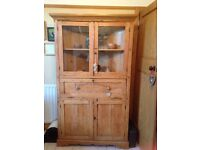 Pine French Style Kitchen Corner Display Unit / Cabinet / Cupboard - Very Rustic / Shabby Chic