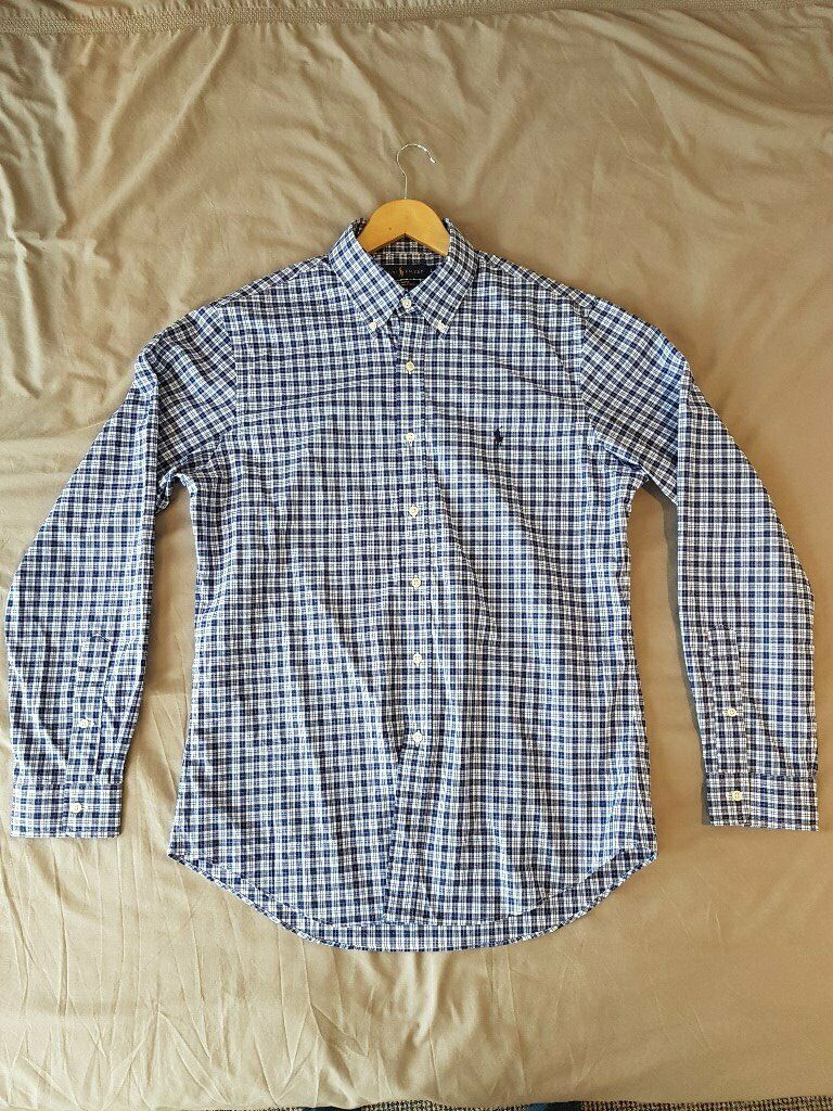 26484630e003 Men's Large Ralph Lauren Blue/White/Navy Checked Long-sleeve Shirt (Unworn)