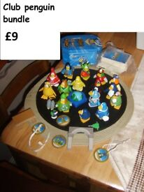 club penguin figures and cards cards in box never played £9 collection from didcot