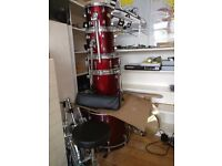 FULL ruby red Pearl drum kit with silencers, sticks and throne FREE