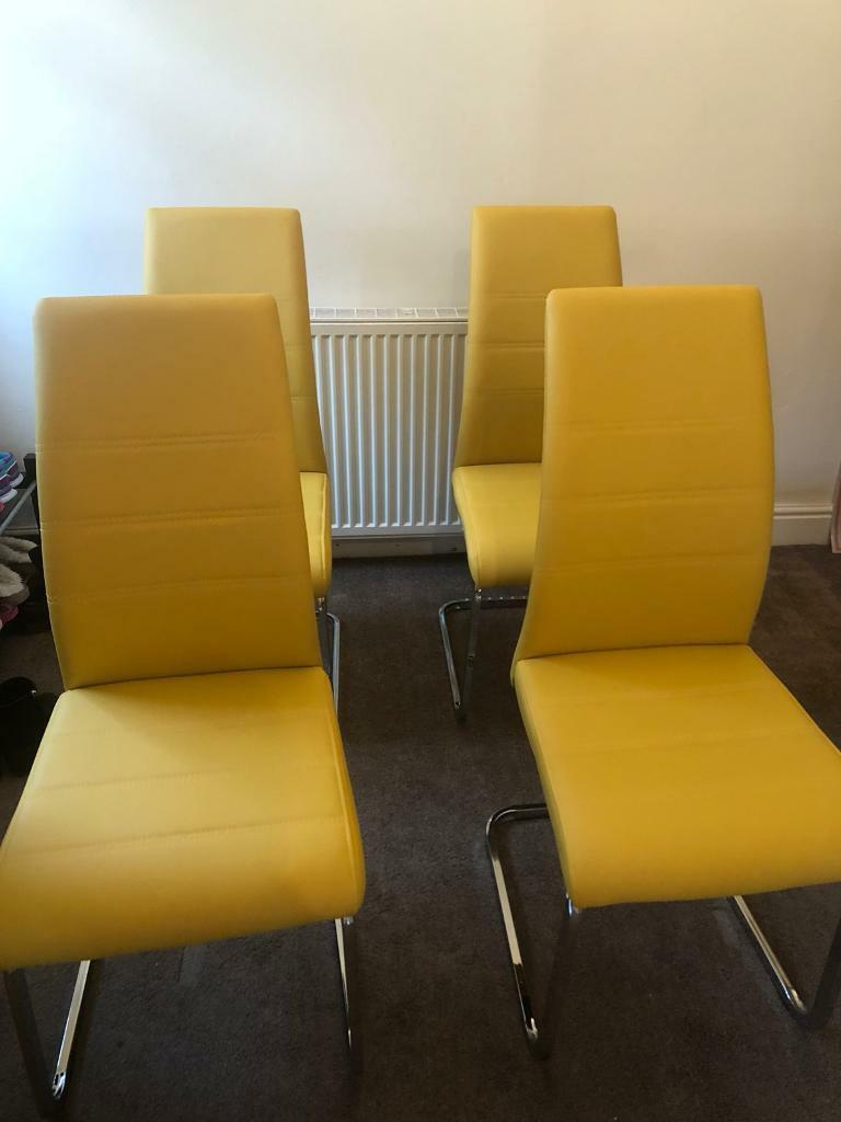 Surprising 4 X Mustard Yellow Faux Leather Dining Chairs In Sunderland Tyne And Wear Gumtree Gmtry Best Dining Table And Chair Ideas Images Gmtryco