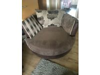 Mocha scatter back corner couch and large cuddle chair for sale