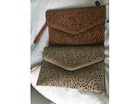 Nude and light brown clutch