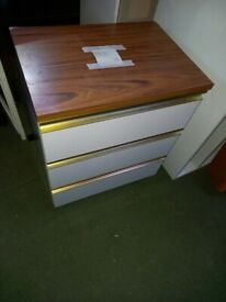 white with dark wood top 3 drawer chest of drawers
