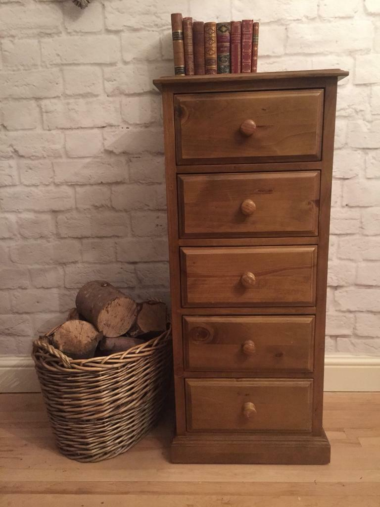 Solid pine tall boy. Chest of drawers. Oak stain. Lovely condition.