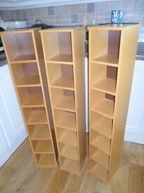 """THREE TALL PINE CD TOWER RACKS HOLDERS 45""""HIGH MUSIC STORAGE UNITS VERY GOOD CLEAN CONDITION"""