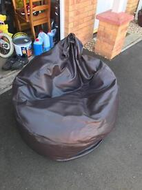 Large Brown Faux Leather Bean Bag