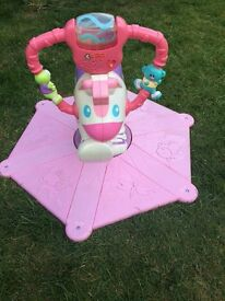 Fisher-Price bounce and spin pony pink zebra