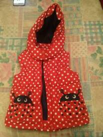 Girls red hooded gilet. Age 3-4