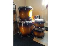 Mapex black panther 5 piece drum kit