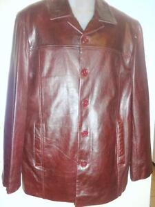 BRAND NEW / MENS 42 44 LARGE / Leather Coat Spring Jacket / Burgundy BROWN Awesome quality / Deadstock FLAWLESS $400 SRP