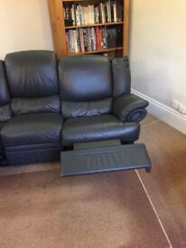 Blue leather sofa (3seater (recliner) & 2 seater)