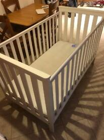 REDUCED White Cot bed with mattress - Mothercare Jamestown