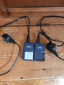 Canon camera spare battery and 2 chargers