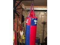 Punch bag, gloves and bracket