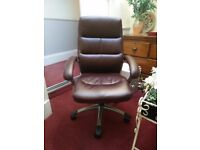 Brown Leather Office Chair Excellent Condition £60 ONO