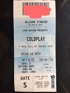 Selling 1x Coldplay Silver Standing GA Ticket Sydney City Inner Sydney Preview