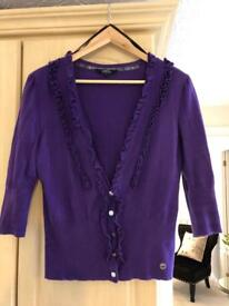 Julien MacDonald purple cardigan size 16