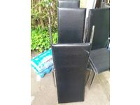 4 chairs black leather
