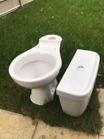 White Close Coupled Bathroom Toilet WC Pan Seat Dual Push Button Flush Cistern