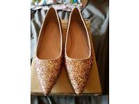 Ladies glitter flat shoes