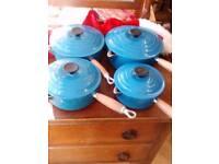 Le creuset set of 4 pans