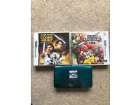 Nintendo 3DS with charger and games